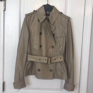Burberry Brit cropped peplum leather trench size 6